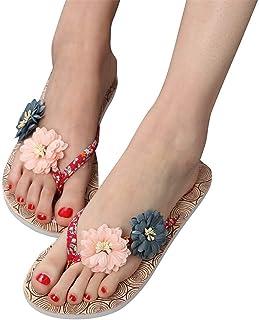 Women's Ladies Summer Boho Flower Non-Slip Wood Grain Flip-Flops Sandals Slippers Beach Shoes