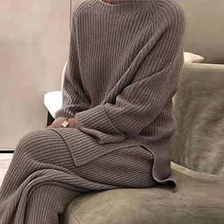 Traje De Suéter De Mujer,Ropa De Hogar Suave De Moda De Las Mujeres De 2 Piezas Conjunto Elegante O-Cuello Top Y Punto Pantalones Puro Color Otoño Invierno Señoras Pijamas Home Set Camel Elegante