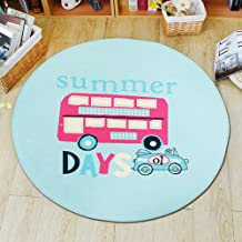 Round Cartoon Rugs Coral Velvet Balcony Table Side Foot Pad Home Door Mat Bedroom Study Cushion,3,80 * 80cm