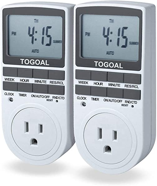 TOGOAL TE02 Digital Light Timer Plug With 3 Prong Outlet 24 7 Programmable For Indoor Electrical Switch With Anti Theft Random And Countdown Option 2 Packs 15A 1800W