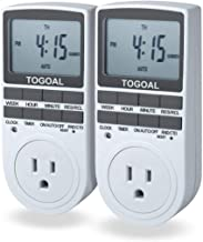 TOGOAL TE02 Digital Light Timer Plug with 3-prong Outlet, 24/7 Programmable for Indoor Electrical Switch with Anti-theft Random and Countdown Option, 2 Packs (15A, 1800W)