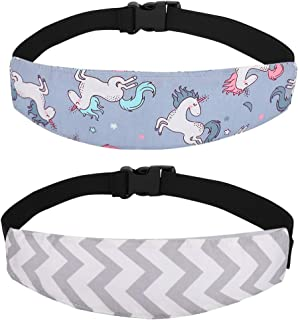 Accmor Baby Carseat Head Support Band Strap 2 Pack Unicorn Head Sleeping Support for Carseats Stroller Neck Relief Head Strap for Toddler Child Kids Infant(Grey Wave, Grey Unicorn)