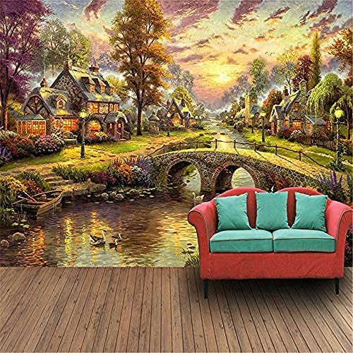 XHXI 3D Mural Wallpaper Custom 3D Mural Wallpaper Hand Painted European Style Forest Hut Night View Oil Painting Art Wal 3D Wallpaper Paste Living Room The Wall for Bedroom Mural border-150cm×105cm