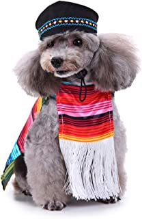 POPETPOP Cinco De Mayo Dog Costume-Mexican Sarape Pet Costume Sombrero Dog Poncho Mariachi Puppy Taco with Dog Hats-Suitable for Small and Medium-Dogs(Size XL)
