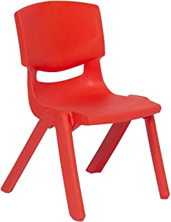 JOON Stackable Plastic Kids Learning Chairs, 20.8x12.5 Inches, The Perfect Chair Sets for Playrooms, Schools, Daycares and Home, Colorful Design (Red, 2 Pack)