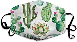 Mouth Mask Earloop Face Masks Comfort Polyester Breathable Mask - Watercolor Elements Succulent Plants Cactus Adjustable Elastic Band Windproof Respirator, Reusable & Washable, Anti Flu Germs