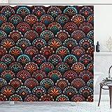 ABAKUHAUS Mandala Duschvorhang, Geometrische Blumenarten, Waserdichter Stoff mit 12 Haken Set Dekorativer Farbfest Bakterie Resistet, 175 x 200 cm, Scharlach Blau & Orange