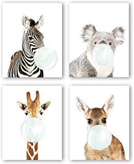 """Nursery Animals Prints Set of 4(8""""X10"""",Baby Safari Prints Woodland Animals Canvas Art Print Poster, Kids Room Educational Decor, Wall Pictures for Living Room Home Decor, No Frame"""
