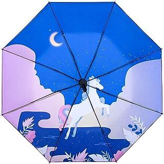 Qeepenl Full Automatic Umbrella Three-fold Male and Female Students Cartoon Sky Horse Sun Shade Sun Umbrella UV Protection