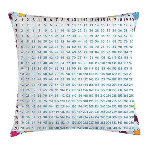 Onderwijskussen kussensloop, grafiek blauwe cijfers op kleurrijke sterren achtergrond berekening wiskunde tellen, decoratieve vierkant Accent kussensloop, 18 X 18 Inch, Multi kleuren