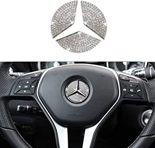 Best 1797 Compatible Steering Wheel Logo Caps for Mercedes Benz Accessories Parts Emblem Badge Bling Decals Covers Interior Decorations W205 W212 W213 C117 C E S CLA GLA GLK Class Crystal Silver 45mm 3pcs Review