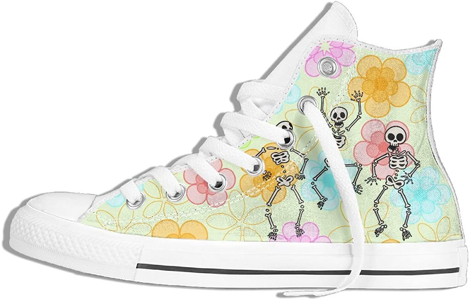 High Top Canvas Sneaker Funny Skull Classic Lace Ups Canvas shoes For Women