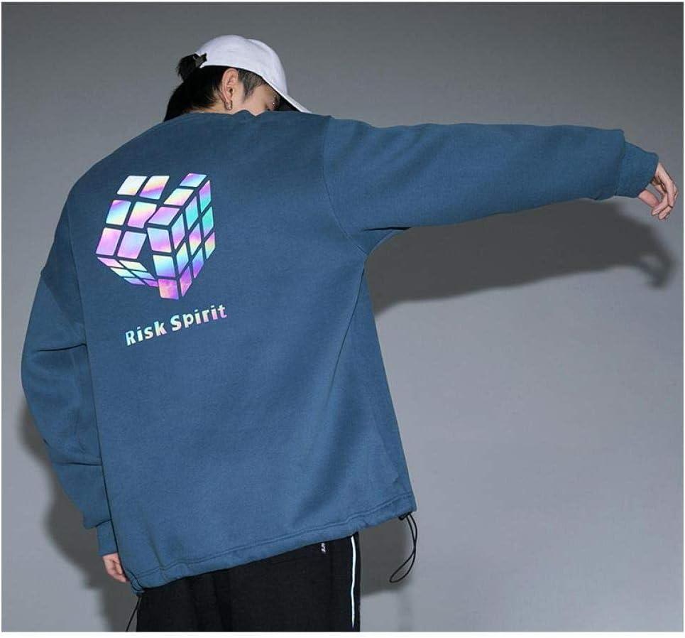 LMSHD Hommes Streetwear Pull Décontracté Homme Sweats À Capuche Hip Hop Impression Réfléchissante Harajuku Couple Sweats Femmes Blue