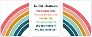 """Inspirational In This Classroom Wall Art - 3 Piece Rainbow Set (8"""" x 10"""" UNFRAMED) Boho Rainbow Classroom Decor, Colorful Posters for Bulletin Board, Affirmations for Students, Preschool, Elementary, Middle School, or Homeschool"""