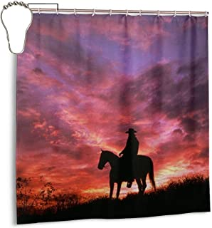 Red Dead Redemption 2 Shower Curtain Sunset Cowboy Rockstar Games Waterproof Bath Shower Curtain for Bathroom Decor with Hooks 72X 72 Inch,Iron
