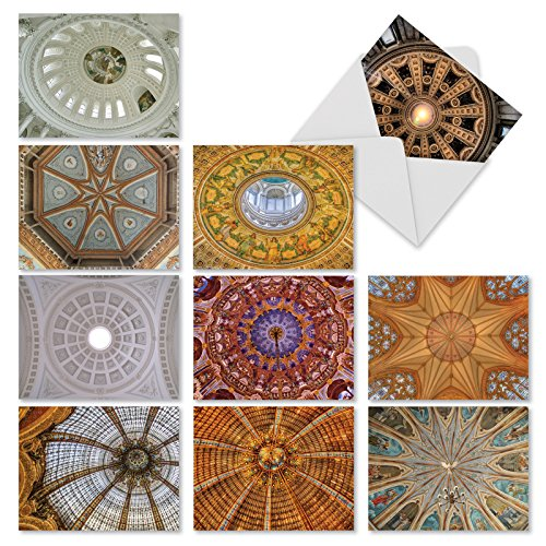 """10 'Overhead Opulence' All Occasion Note Cards with Envelopes, Beautiful Stationery Set, Assorted Blank Greeting Cards for Weddings, Baby Showers, Thank You, Sympathy (Mini 4"""" x 5 ¼"""") #M3303"""