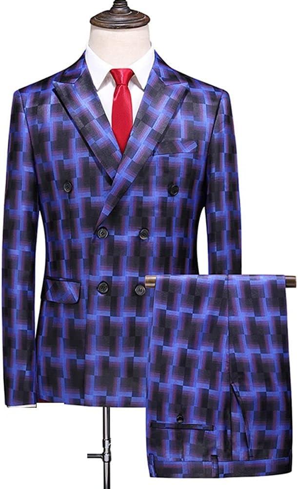 WPYYI Plaid Men Suit Double Breasted Wedding Groom Formal MensPlus Blue Male Suits/Jump Suit (Color : Blue, Size : M for 47 to 55 kg)