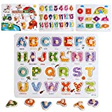 Wooden Peg Puzzles Set for Toddlers 2 3 4 Years Old, Alphabet ABC, Numbers, Shape and Farm Animals Learning Puzzles Board for Kids, Preschool Educational Activity Toys Gift for Boys Girls