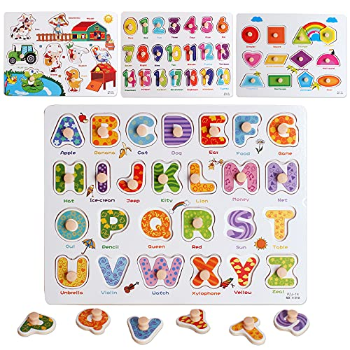 Wooden Peg Puzzles Set for Toddlers 2 3 4 Years Old  Alphabet ABC  Numbers  Shape and Farm Animals Learning Puzzles Board for Kids  Preschool Educational Activity Toys Gift for Boys Girls