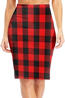Red Buffalo Plaid Women's rnColorful High Waist Bodycon Pencil Skirts Printed Party Skirt