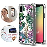 iPhone X/Xs Case, TiTiShark Premium Anti Gravity Protective Case [Hands-Free Case], FlowerLeaves Design Interior Printed Clear Case for Apple iPhone X/Xs