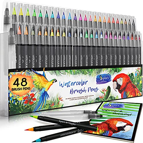 Watercolor Brush Pens - 48 Vibrant Coloring Pens, 2 Blending Brushes & A5 Pad - Premium Quality, Soft, Real Brush Tips - Portable Paint Markers - Perfect for Watercolor, Calligraphy + Adult Coloring