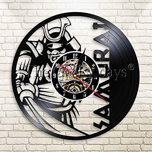jiushixw Retro Wilde Samurai Japanische Schrift Rekord Wanduhr Modernes Kreatives Design Dekorative Wanduhr Fabrikuhr