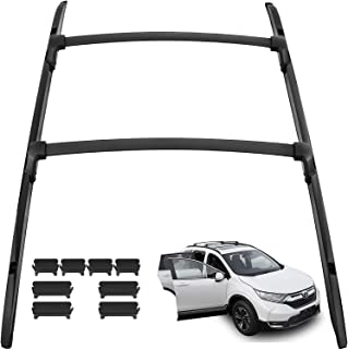 ROSY PIXEL 4pcs Roof Rack CrossBars+Side Rails Luggage Carrier for 2017 2018 2019 Honda CRV Mount onto The Rooftop Black Aluminum