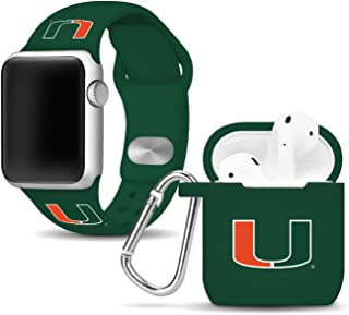 Affinity Bands Miami Hurricanes Silicone Watch Band and Case Cover Combo Compatible with Apple Watch and AirPod Case