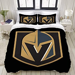 LUBATAGA Duvet Cover Set,Vegas Golden Knights, Decorative 3 Piece Bedding Set with 2 Pillow Shams,Full