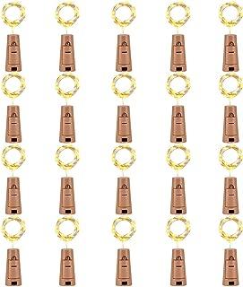 LEDIKON 20 Pack 20 Led Wine Bottle Lights with Cork,3.3Ft Silver Wire Warm White Cork Lights Battery Operated Fairy Mini String Lights for Wedding Party Wine Liquor Bottles Bar Decor