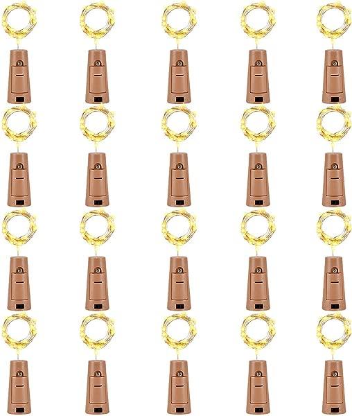 LEDIKON 20 Pack 20 Led Wine Bottle Lights With Cork 3 3Ft Silver Wire Warm White Cork Lights Battery Operated Fairy Mini String Lights For Wedding Party Wine Liquor Bottles Bar Decor