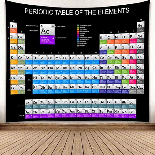 GenericBrands Periodic Table Of Elements Tapestry Background Cloth Education Art Wall Hanging Bedroom Living Room Dorm Decor