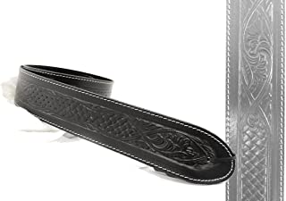 UK-Made Deluxe Black Texan LEATHER Guitar Strap - Acoustic Bass + 6 Free Picks