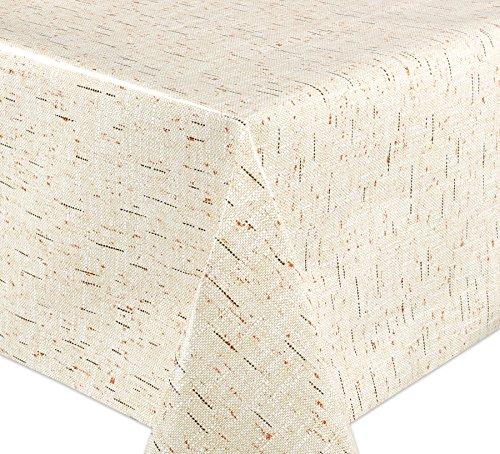 WACHSTUCH Tischdecken, Meterware abwischbar, Größe wählbar, 110x140 cm, Glatt Leinsack Optik