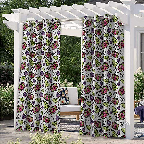 Adorise Print Outdoor Curtains Colorful Tree Ornate Boxes and Candy Canes Pattern Christmas Themed Illustration Blackout Patio Outdoor Curtains Perfect for Your Pergola Multicolor W120 x L96 Inch