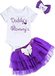 Newborn Baby Girl Outfit Daddy's Girl Mommy's World Funny Printed Short Sleeve Bodysuit Romper +Purple Tutu Skirt Set
