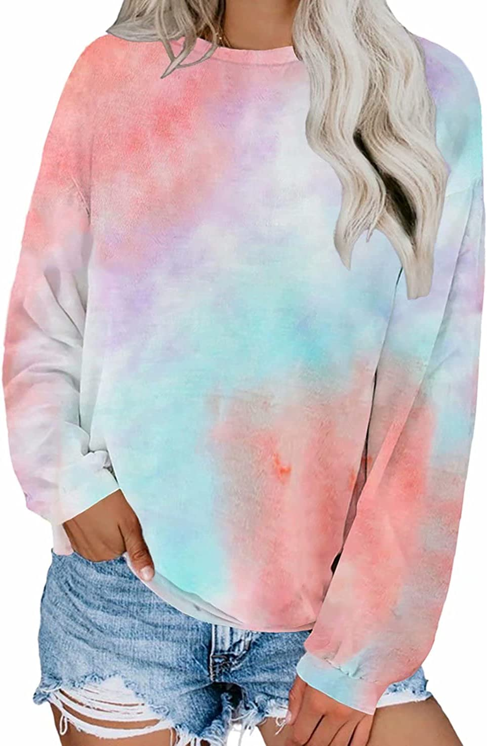 Dokotoo Womens Fall Ladies Loose Fit Crewneck Long Sleeve Tops Casual Tie Dye Plain Tops Blouses Fashion T-Shirts Thin Pullover Sweatshirt Blue X-Large