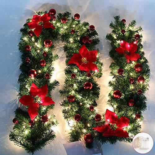 Queta 2,7M Weihnachtsgirland Tannengirland Weihnachtdekoration mit roten Blumen Weihnachtsdeko-LED Lampen schöne Feiertag-Dekoration für Treppen, Wand, Türen In-Out Door