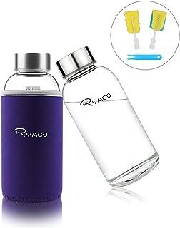 Ryaco Botella de Agua Cristal 360ml, Botella de Agua
