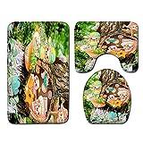 DREAMING-Franela Baño Alfombrillas Antideslizantes Alfombrillas Decorativas Alfombrillas De Cocina Alfombrillas De Baño Alfombrillas para Inodoros Cubre Alfombras De Tres Piezas 50cmx80cm
