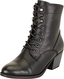 Cambridge Select Women's Victorian Steampunk Lace-Up Chunky Stacked Block Mid Heel Ankle Bootie