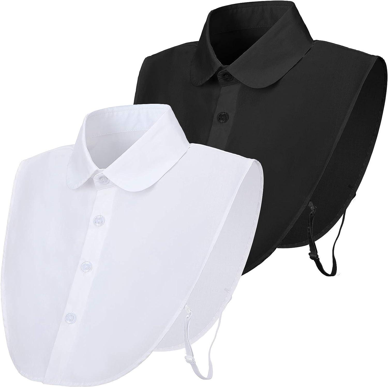 2 Pieces Women's Half Detachable Fake Collar Dickey Tops for Ladies