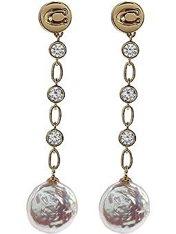 코치 귀걸이 COACH Freshwater Pearl Linear Earrings