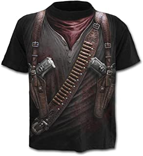 Mens Fashion T Shirt Cotton Tee Hippie Shirts Short Sleeve Western Cowboy Print Slim Fit Top Shirts