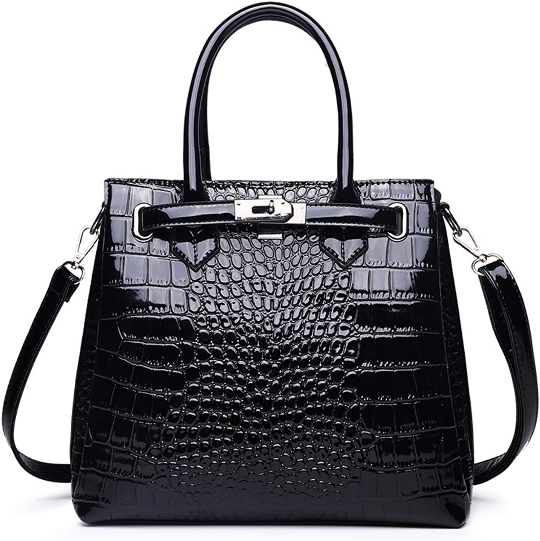 KUNZITE Women's Alligator Leather Handbag Three Pocket Crossbody Bag for Women