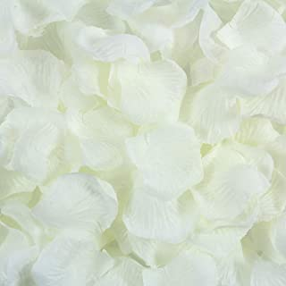 BESKIT 3000 Pcs Artificial Silk Rose Petals Unscented Non-Woven Flower Petals for Valentine Day Wedding Flower Decoration (Ivory White)