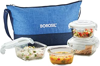 Borosil Prime Daisy Glass Lunch Box Set of 4, (320 ml Sq + 240 ml Rnd) Microwave Safe Office Tiffin