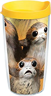 Tervis 1282103 Star Wars - Last Jedi Porgs Tumbler with Wrap and Yellow Lid 16oz, Clear