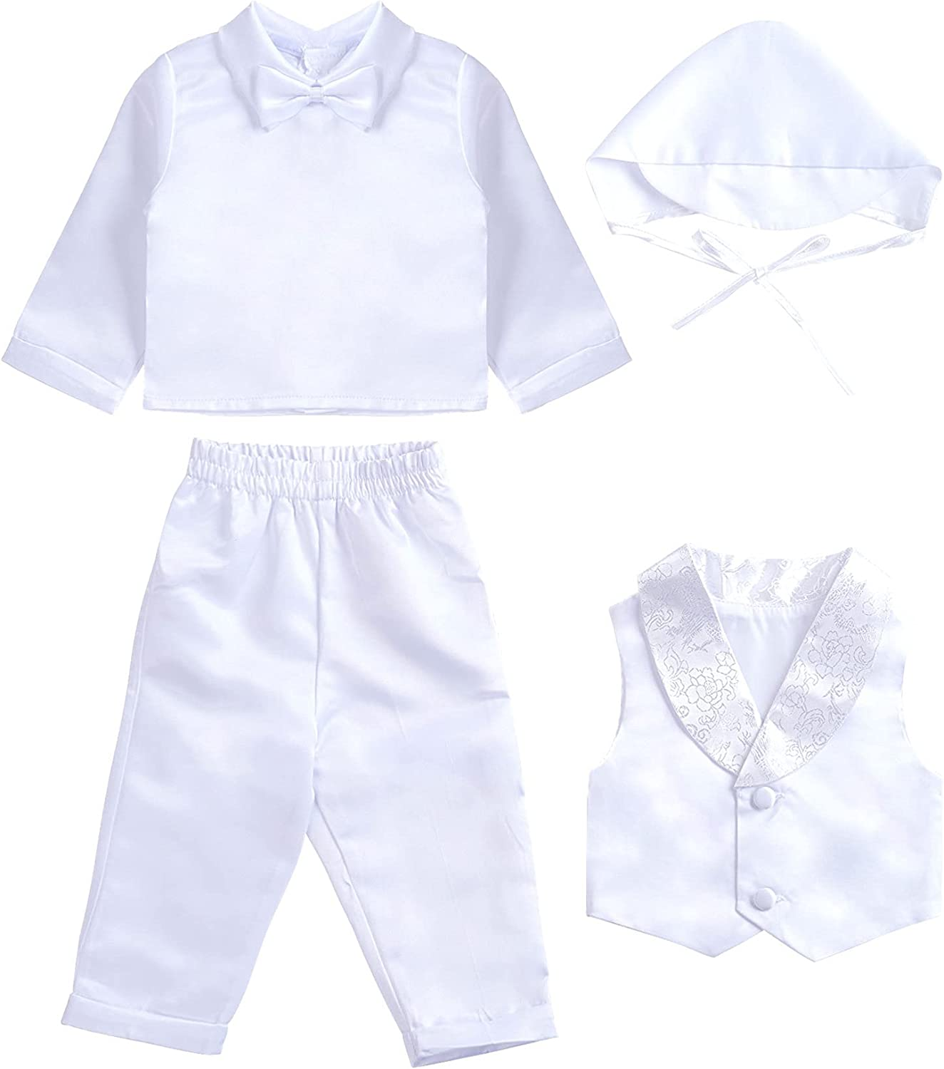 JEEYJOO Discount is also underway Infant Baby Boys 4 New item Pieces Hat Sewed Vest Coat with Pant